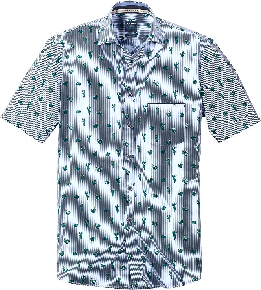 OLYMP - Camisa de manga corta con diseño de rayas y cactus, color blanco y azul: Amazon.es: Ropa y accesorios