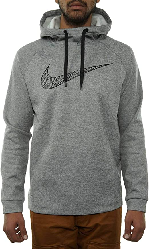NIKE MEN'S THERMA DRI FIT PULLOVER HEATHER GREY HOODIE
