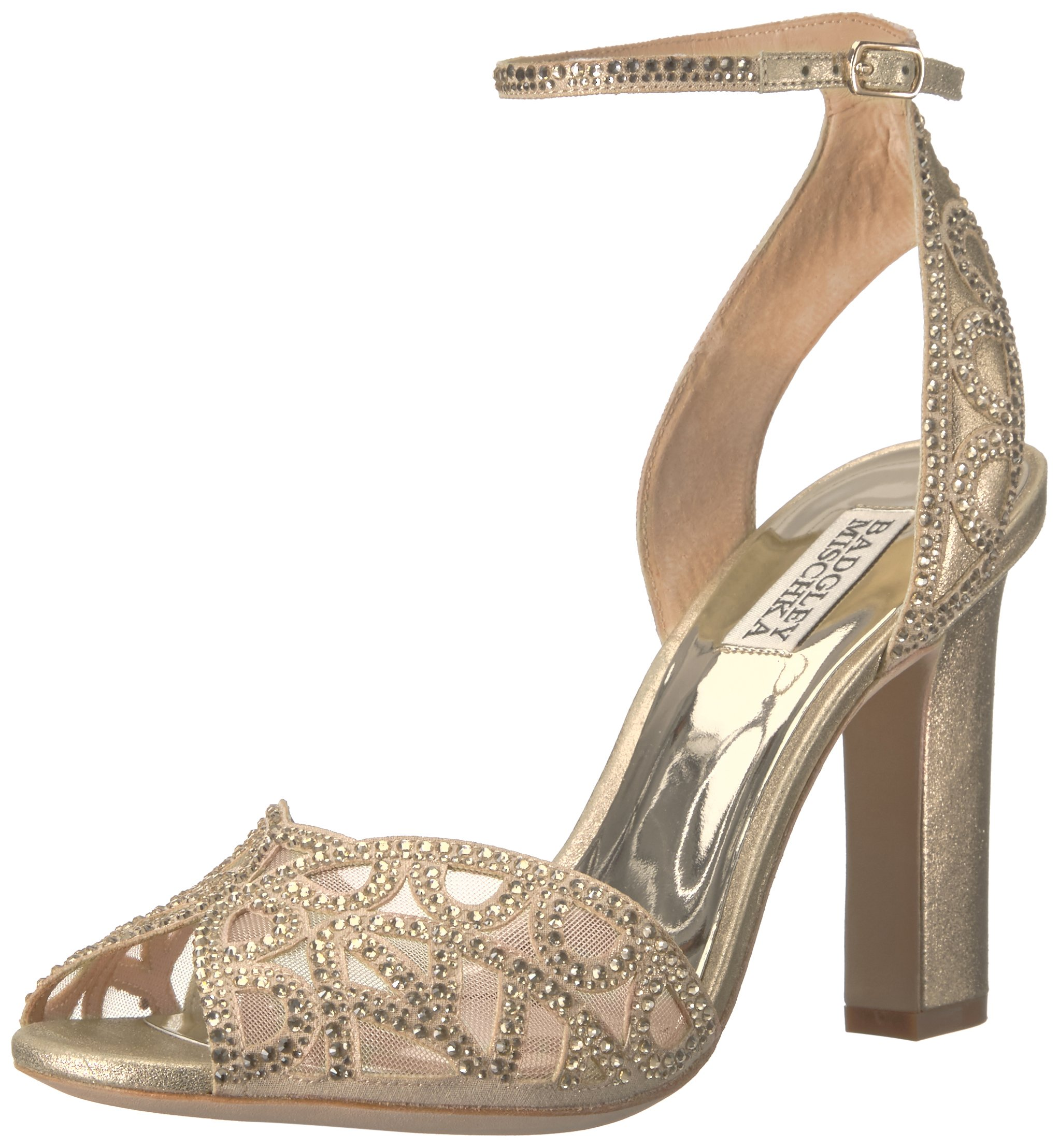 Badgley Mischka Women's Hart Heeled Sandal, Platino, 10 M US