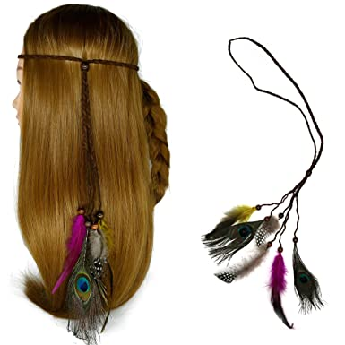 Amazon.com: omonic nuevo diseño Indiana pluma de pavo real ...