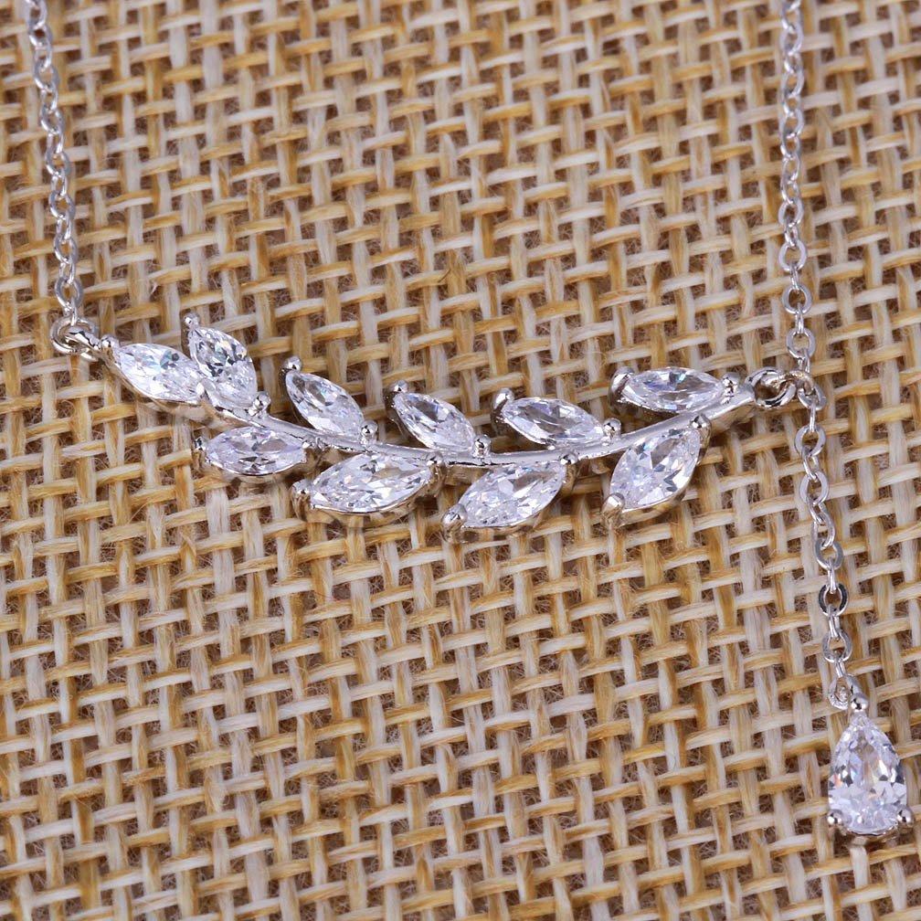YAZILIND 925 Sterling Silver Leaf Teardrop Design Oxyde de Zirconium Pendentif Colliers