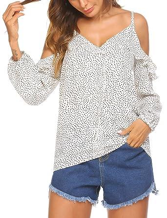 Parabler Damen Schulterfrei Chiffon Bluse V-Ausschnitt Cut Out Loose Fit  Top T-Shirt 6a1f4f520d