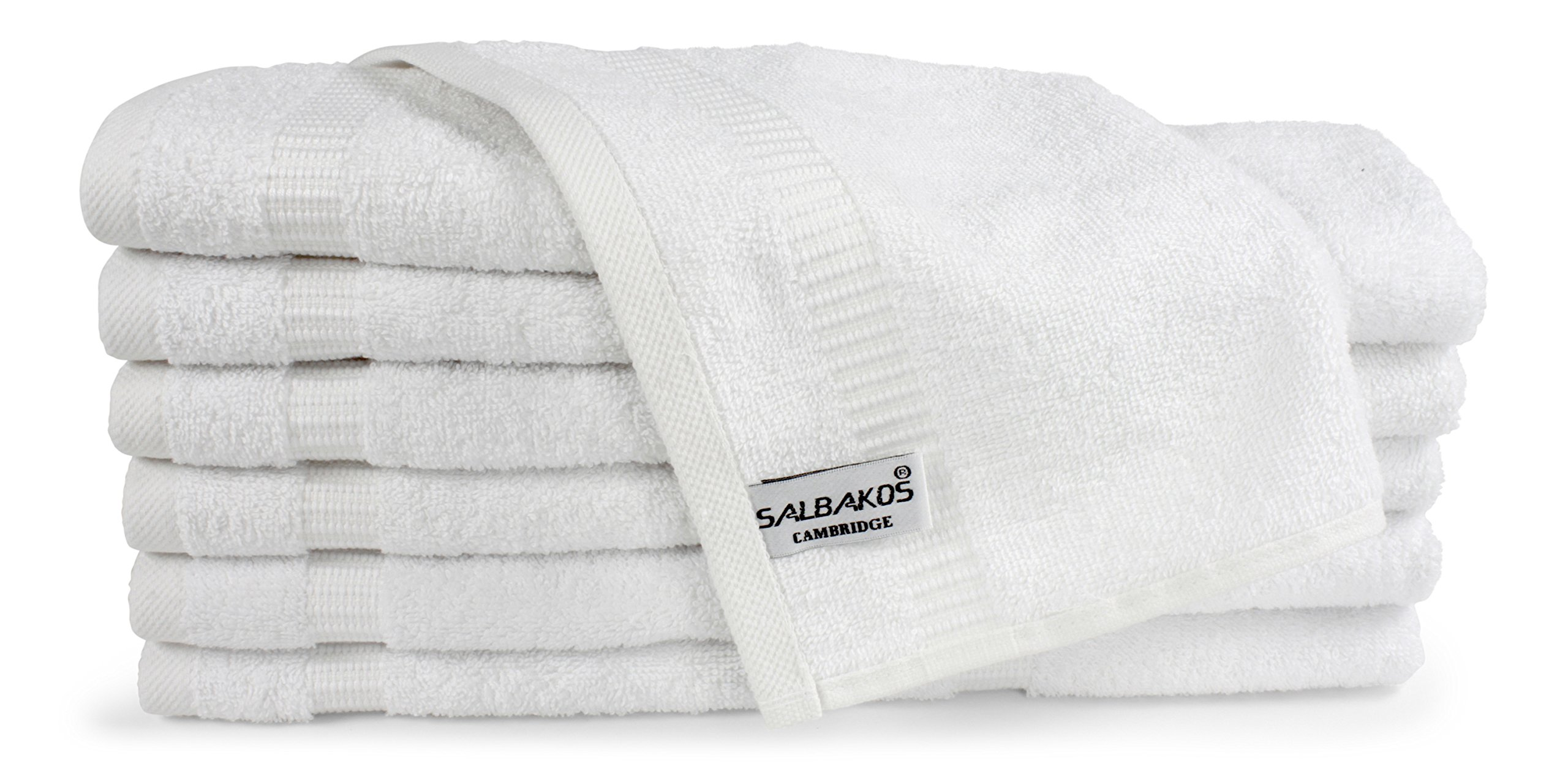 SALBAKOS Luxury Hotel and Spa Washcloths Turkish Cotton 12 Piece, Eco-Friendly Set for Bath, 13 by 13 Inches, White