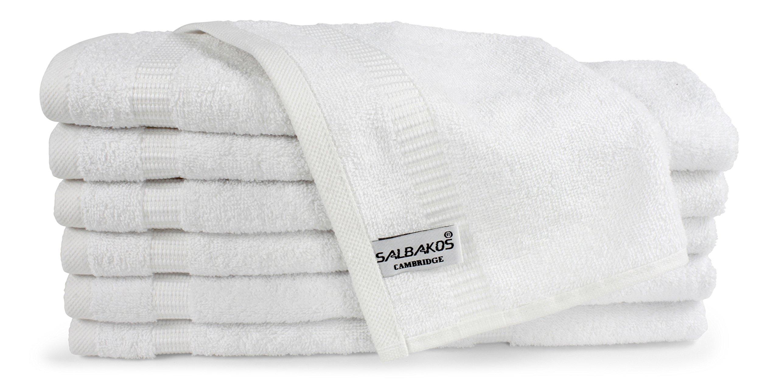 SALBAKOS Luxury Hotel & Spa Turkish Cotton 12-Piece Eco-Friendly Washcloth Set Bath, 13 x 13 Inch, White