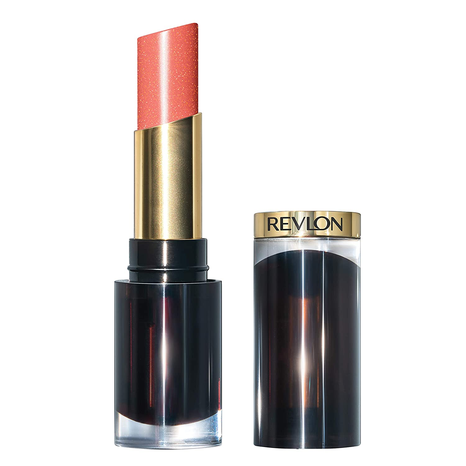 Revlon Super Lustrous Glass Shine Lipstick, Moisturizing Lipstick with Aloe and Rose Quartz in Coral, 019 Dewy Peach, 0.15 oz