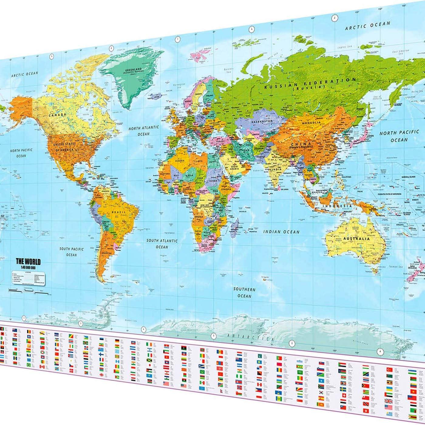 Goods & Gadgets Cartel XXL del mapamundi en tamaño Gigante con Banderas y estandartes (140x100cm): Amazon.es: Hogar