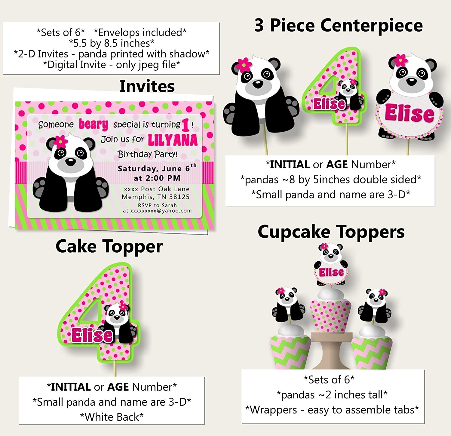 Amazon.com: Personalized Girl Panda Birthday Party or Baby Shower ...