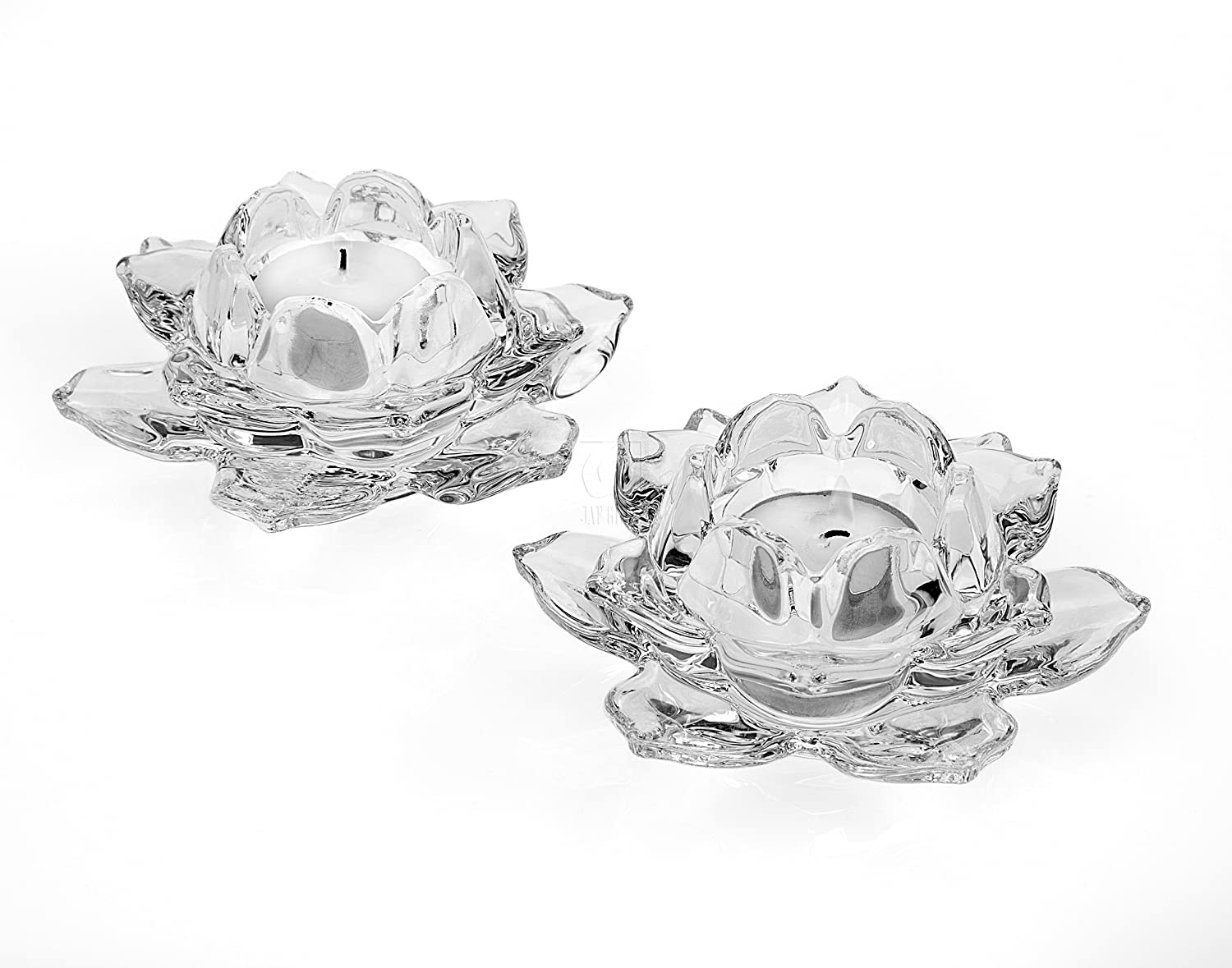 Shannon Crystal Lotus Votive Candle Holder Pair by Godinger | ChristmasTablescapeDecor.com