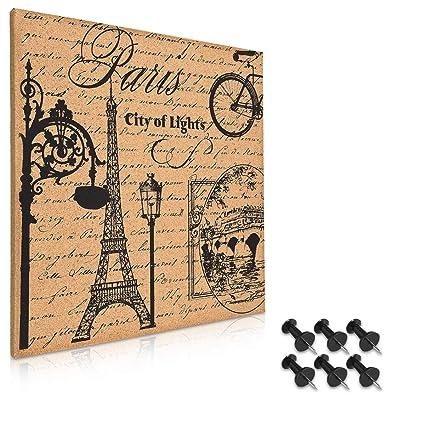 Navaris tablero de corcho con Torre Eiffel - Pizarra de corcho de 40x40CM - Tablón para