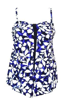 57f9549e79f27 Croft & Barrow Women's Swimwear Tummy Slimmer Flyaway Tankini Top, Blue  Black Floral Ink Blot