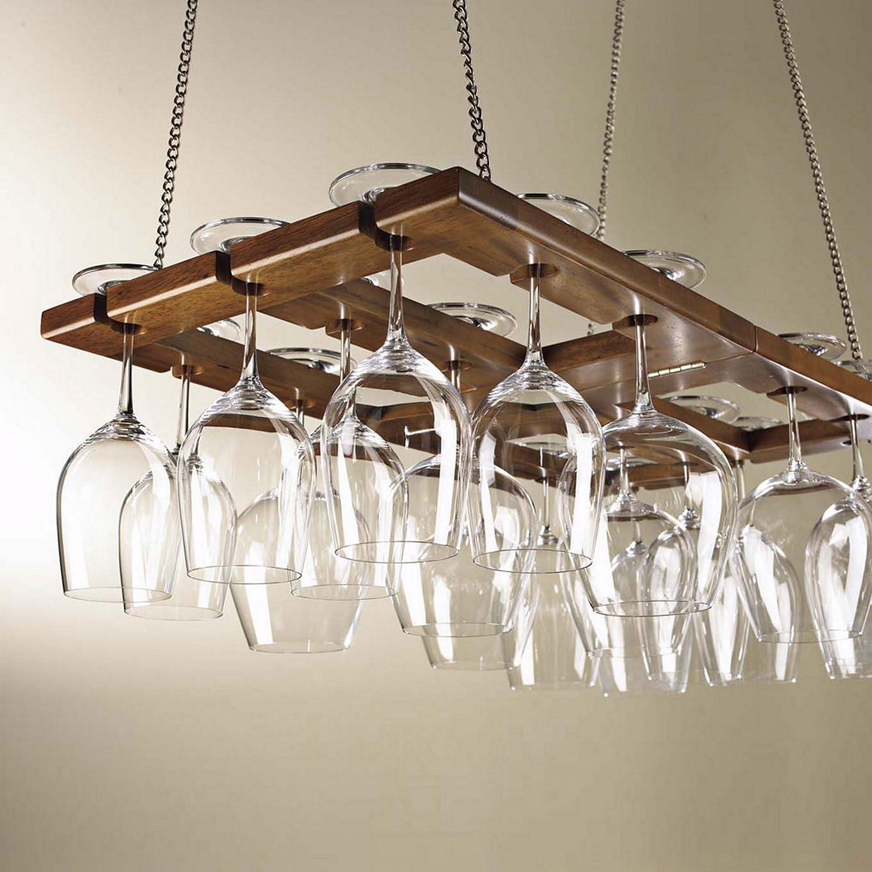 Wine Enthusiast Hanging Mahogany Wine Glass Rack - Holds 18 Glasses