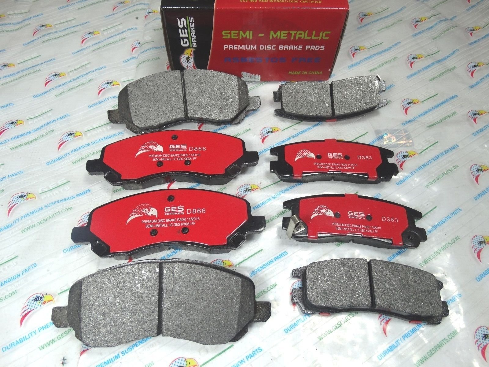 NEW 2 Sets Front & Rear Brake Pads Mitsubishi Eclipse Galant D866 & D383 by GES PARTS (Image #4)