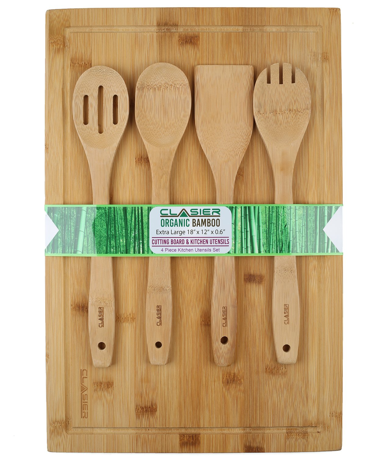 Bamboo Cutting Board Extra-Large 12'' x 18'' And Four Piece Utensils Set With Juice Tray Groove - Organic Perfect Solid Wood Eco And Knife -Friendly- Best Kitchen Chef Bread-Chopping Board: By Clasier