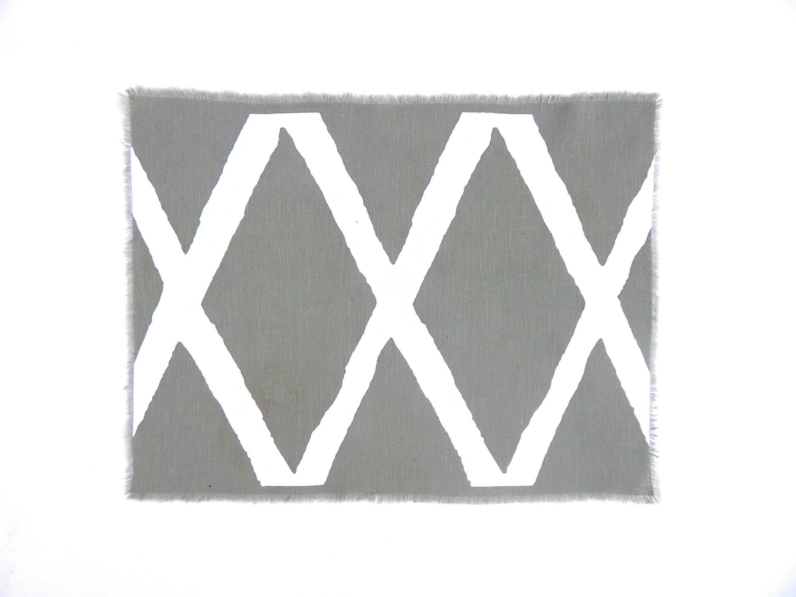 Gitika Goyal Home Windows Collection Cotton Khadi Grey Mat 17x12 Diamond Design, White Hand Screen Print