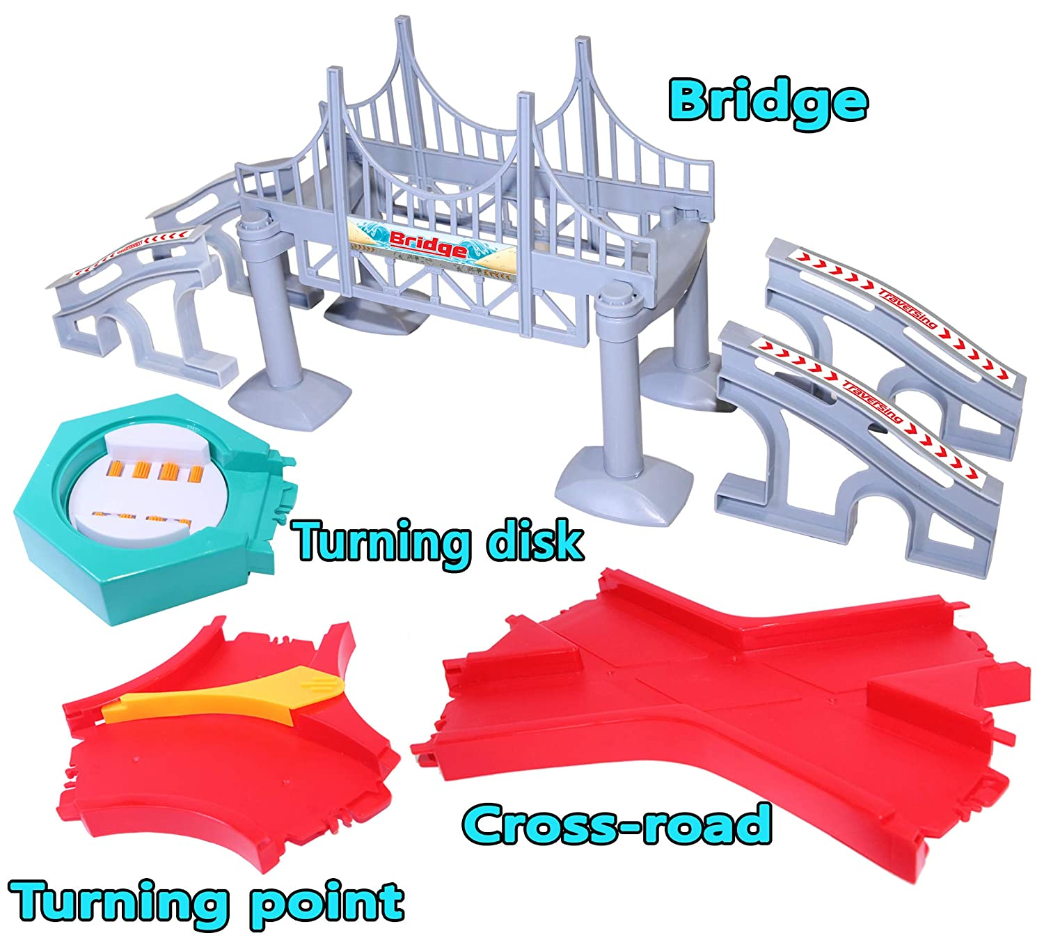 HapiSimi Accessories Set for Magic Tracks, Including 1 Bridge, 1 X-Crossroad, 1 Turning Point, 1 Turning Plate, Compatible with Magic Tracks, Neo Twister Track
