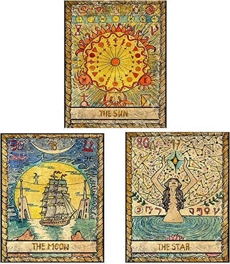 Tarot Card Vintage Tapestry Astrology Home Decor Indian Wall Hanging Pack of 3