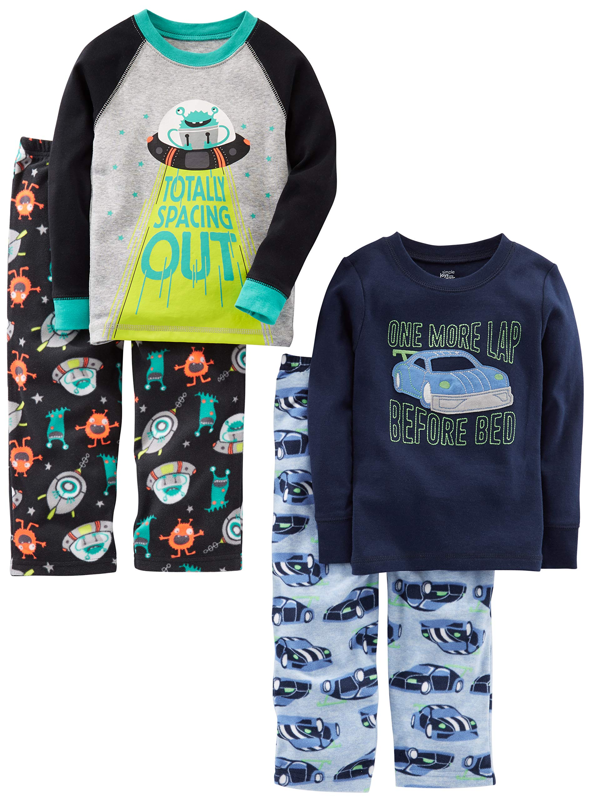 Simple Joys by Carter's Boys' Little Kid 4-Piece Pajama Set, Racer Cars/Space, 6