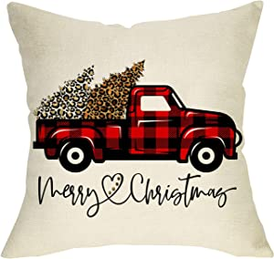 FBCOO Merry Christmas Decorative Throw Pillow Cover, Xmas Cushion Case Buffalo Plaid Check Truck Red Black Home Decorations Sign, Winter Holiday Pillowcase Leopard Trees Decor for Sofa Couch 18 x 18