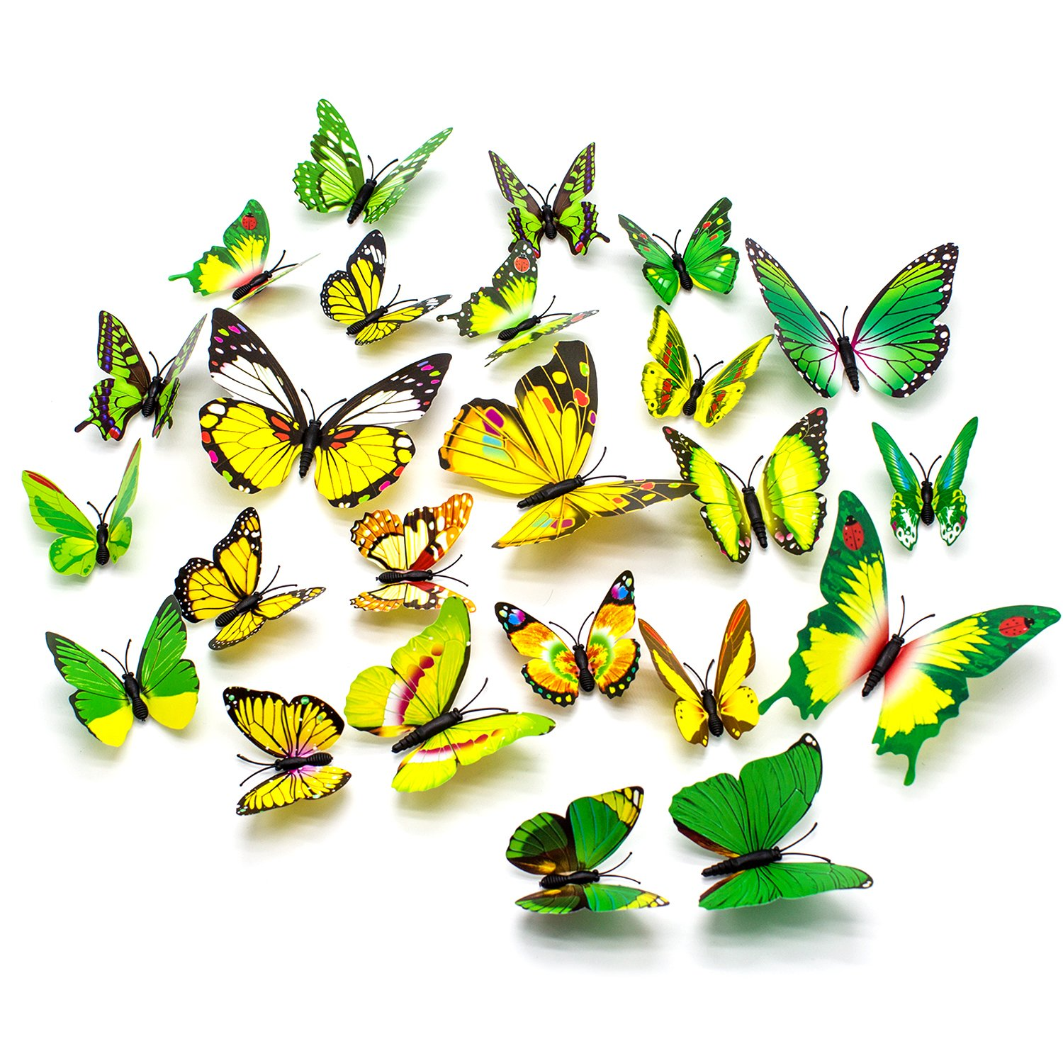 Amazon.com: 3D Butterfly Stickers Removable Mural Crafts Art Design ...