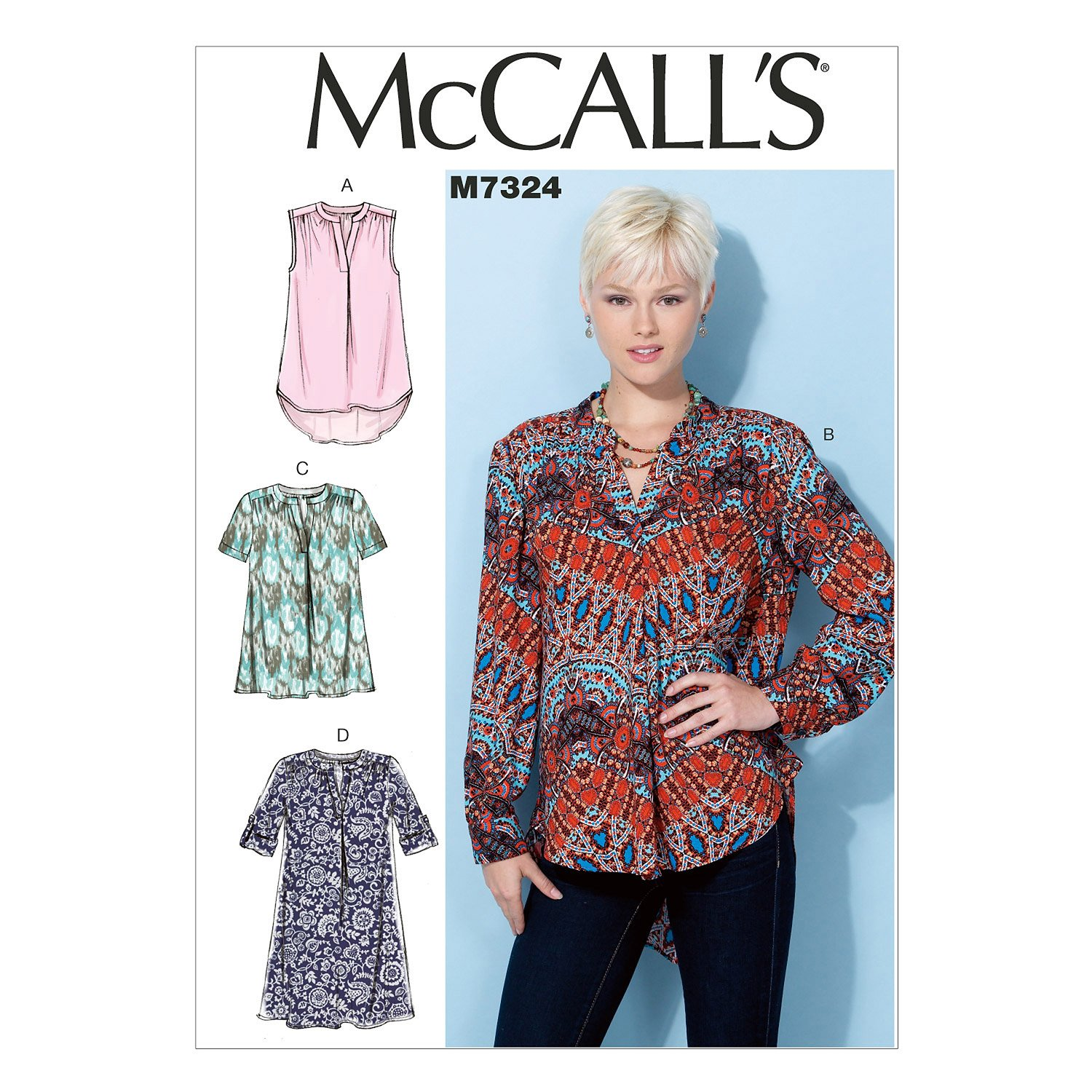 bb9182dffc7353 McCall's Patterns 7324 A5 Sizes 6-14 Misses Tops and Tunic, Multi-Colour:  Amazon.co.uk: Kitchen & Home