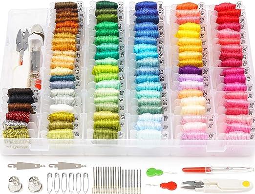 Darley 99 colores amistad pulsera cuerda con organizador caja de almacenamiento, bobinas de hilo dental y 38 piezas kit de punto de cruz: Amazon.es: Hogar