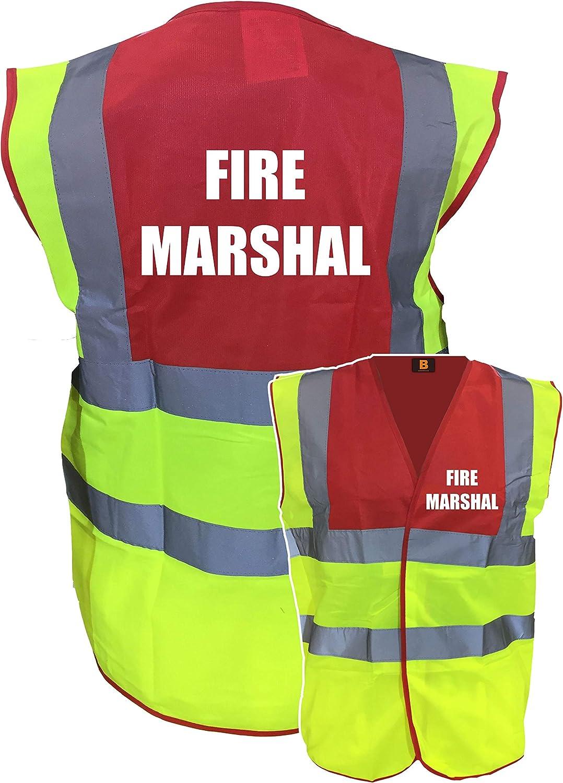 Premium Fire Marshal Yellow Red Hi Vis Viz Reflective Safety Vest Waistcoat Reflective High Visibility Printed By Brook Hi Vis,