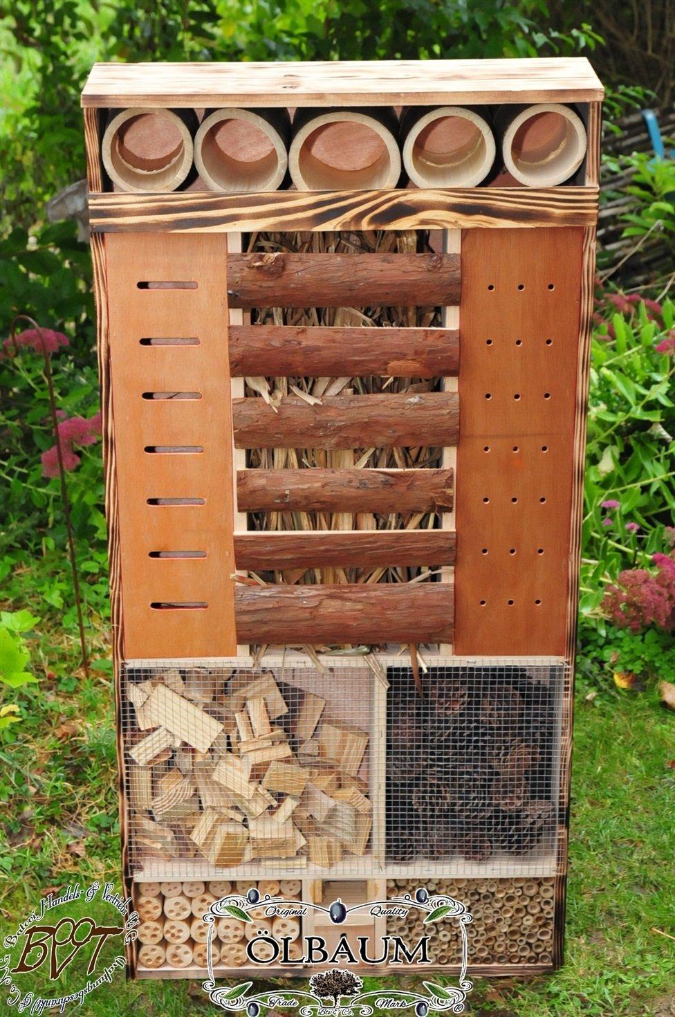Insektenhotel, XXL, FRONT DUNKEL-BRAUN,wetterfest IN GEFLAMMT NATUR,INXXL-VDU-BEL-gefla002 robust,stabil,wetterfest,Insektenhotel Insektenhaus, Schmetterlingshaus Nistkasten, Insektenhotel,futterhaus für Insekten & Vögel,WINTERFEST,Schmetterlingshaus-Station Farbe geflammt gebrannt (schwarz/natur)