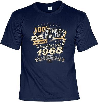 T-Shirt 50 Geburtstag - Geburtstagsshirt Sprüche Jahrgang 1968 : 100  Prozent Premium Qualität 1968 - Geschenk-Shirt Zum 50.Geburtstag Frau/Mann  + lustige ...