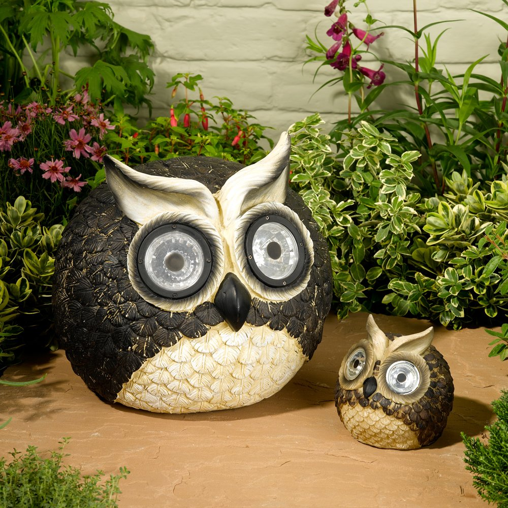 Owl lawn ornaments - Amazon Com Smart Solar 3563wrm2 Solar Owl Accent Lights Set Of 2 With Mother And Baby Powered By An Integral Solar Panel And Made Durable And