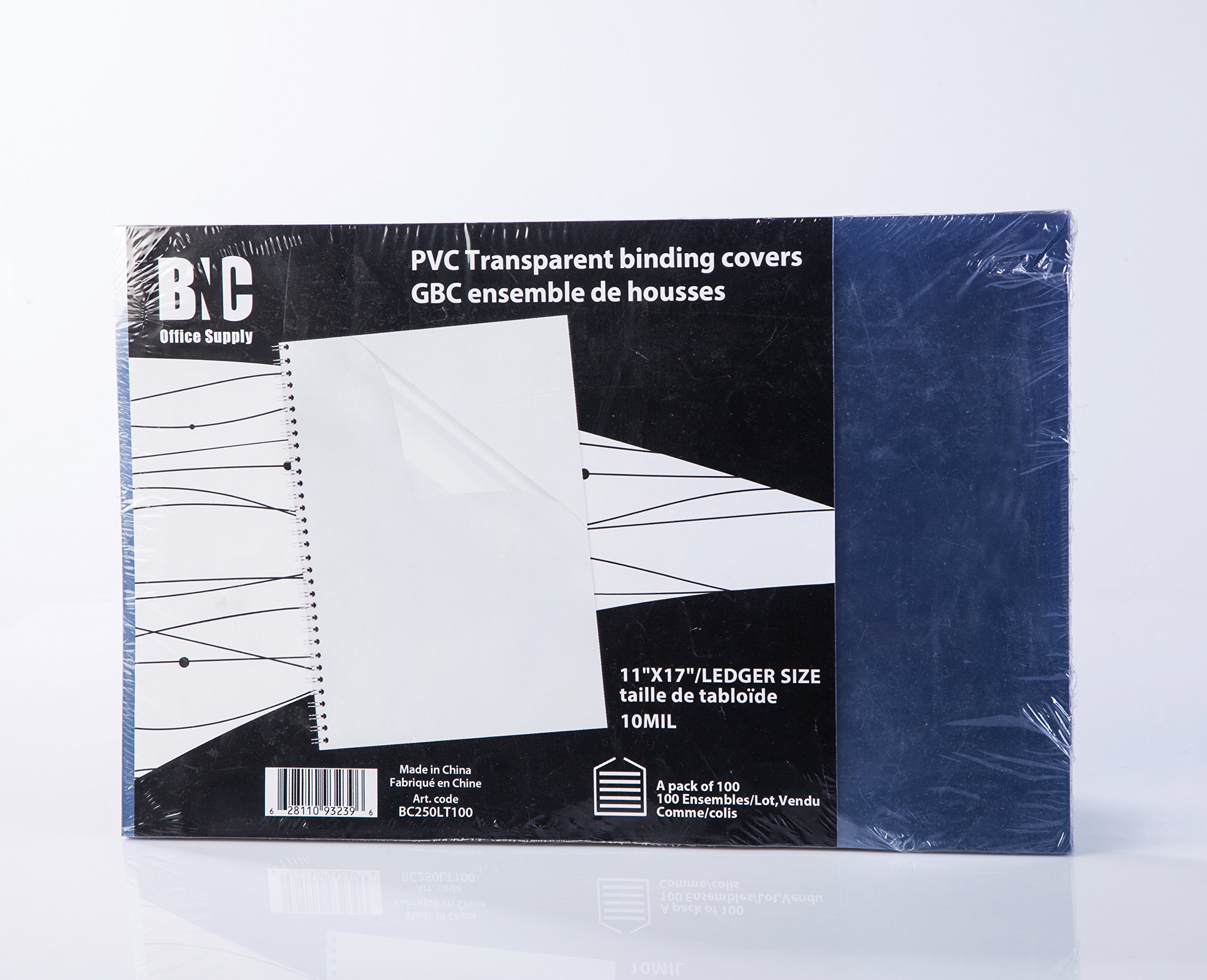 BNC 10 Mil 11X17 Inches, Ledger Size PVC Binding Covers - Pack of 100, Clear (BC250LT100) by BNC Office Supply (Image #1)