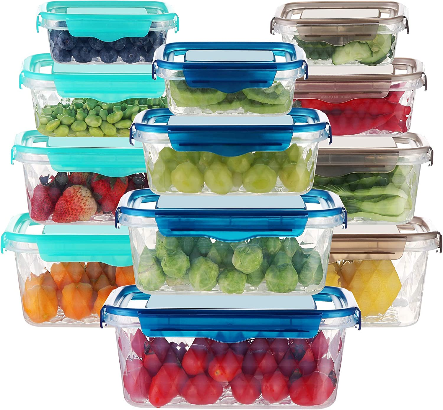 Food Storage Containers with Lids, DUSASA 12 PCS Plastic Storage Containers with Lids for Food, Leakproof Lunch Containers, Stackable Kitchen Storage Containers for Food BPA Free Containers Set