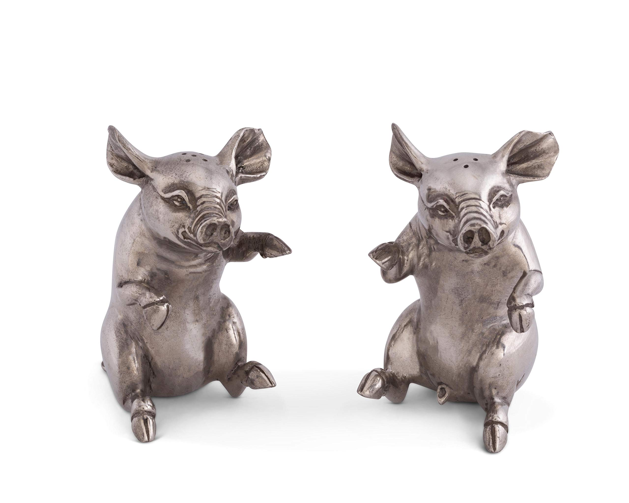 Vagabond House Happy Pewter Pigs Salt and Pepper Shaker Set, 4'' Tall by Vagabond House