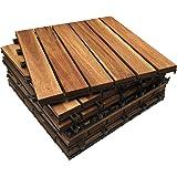 Baldosas Click-Deck entabladas, de madera dura e ideales para patios, balcones, terrazas y jacuzzis