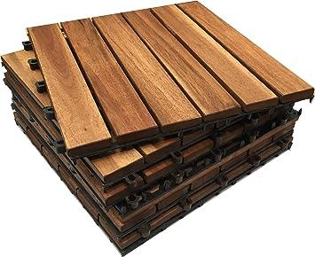 6x Click Deck Dalles Jardin Exterieur Bois D Acacia Dalles De Terrasse Convient Pour Patio Balcon Terrasse Sur Le Toit Spa Carreaux De Terrasse
