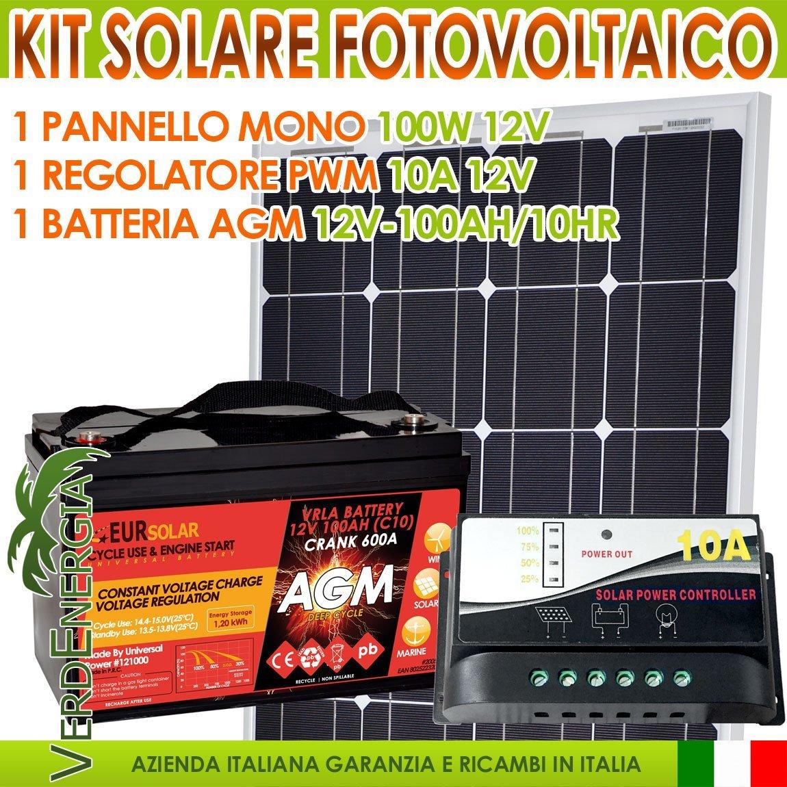 Kit solar Solarmodul 100W 12V Mono + Regler Solar PWM 10A + Batterie AGM 100Ah Camper Nautica Hütte