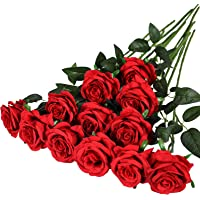 Hawesome 12PCS Artificial Roses Flowers Silk Realistic Blossom Roses Bridal Wedding Bouquet Long Stem for Home Wedding…