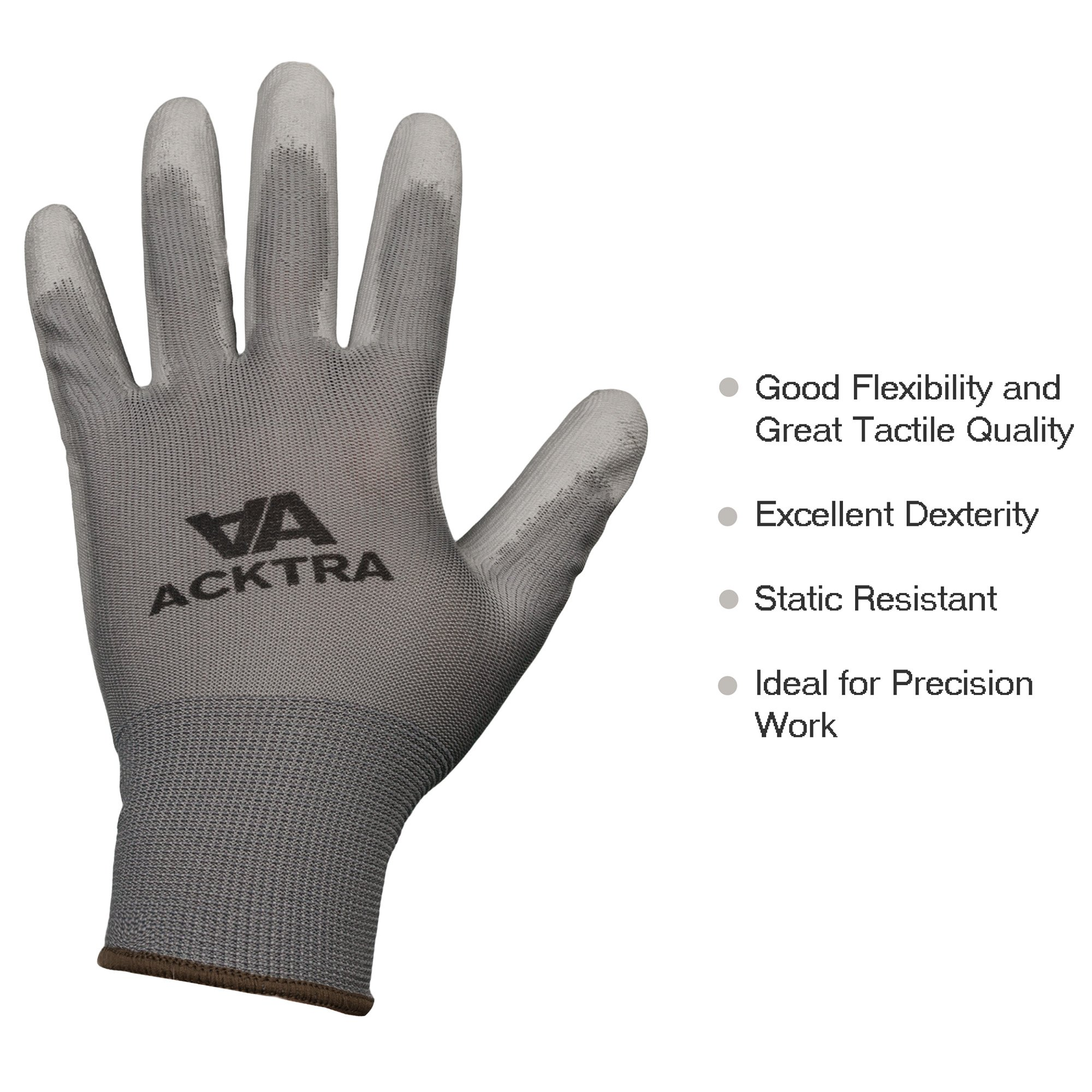 ACKTRA Ultra-Thin Polyurethane (PU) Coated Nylon Safety WORK GLOVES 12 Pairs, Knit Wrist Cuff, for Precision Work, for Men & Women, WG002 Black Polyester, Black Polyurethane, Small 4
