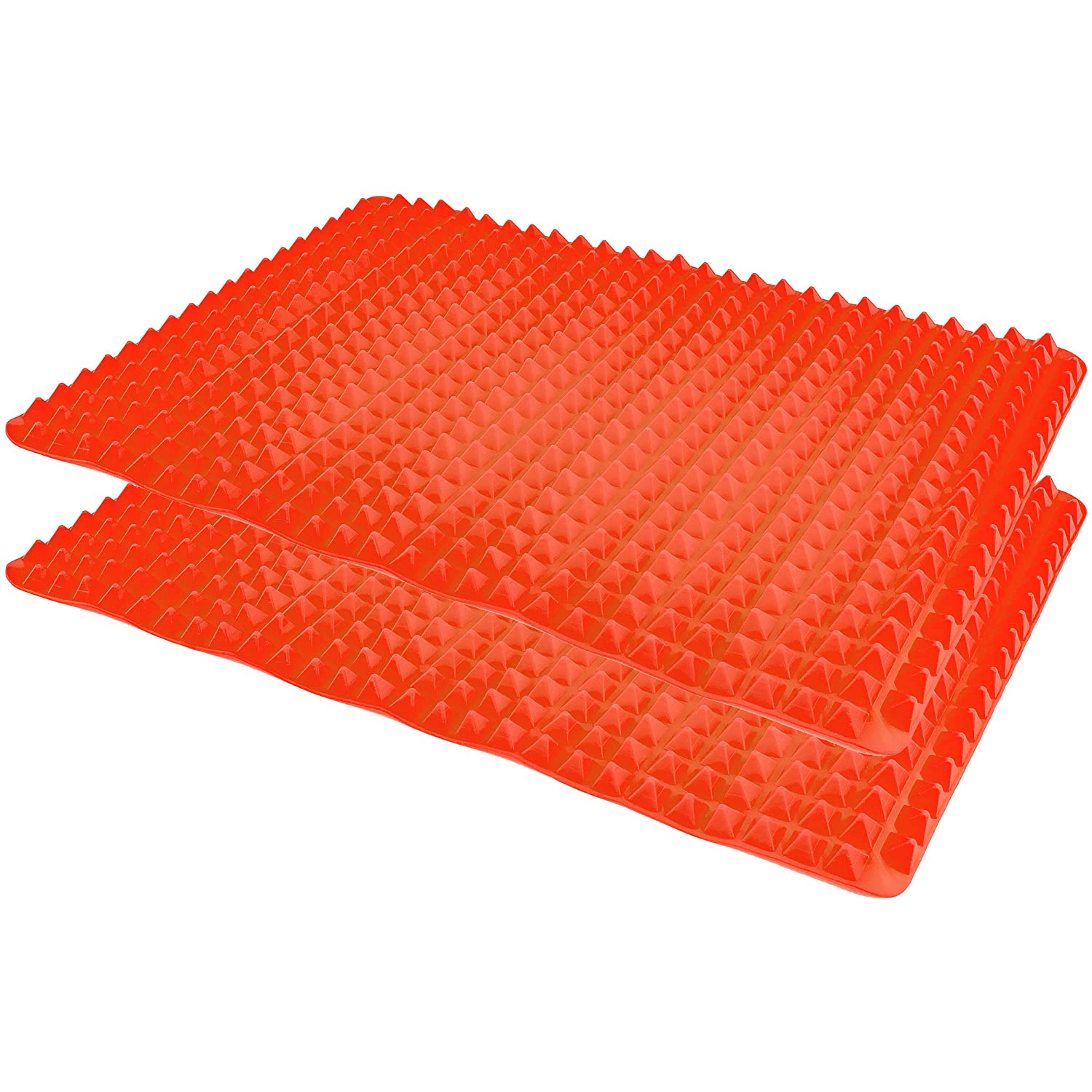 Healthy Homewares Raised Silicone Baking Sheet Non-Stick Cooking Mat Oven Tray Liner, Red Set of 2