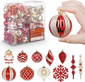 Homde Christmas Balls Ornaments 77ct (5.12inch -1.57inch) Includes Santa Claus Snowflakes for Xmas Tree Shatterproof Christmas Tree Decorations with Hanging Rope (Red & Gold)
