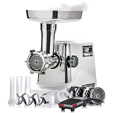 STX International Model STX-3000-TF-PD Turboforce 3000 Series Size #12 Electric Meat Grinder - Foot Pedal On-Off Control Included
