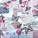 Edealing 1 Meter New Vintage Chic français Papillon Rose Cotton Linen tissu RETRO Artisanat
