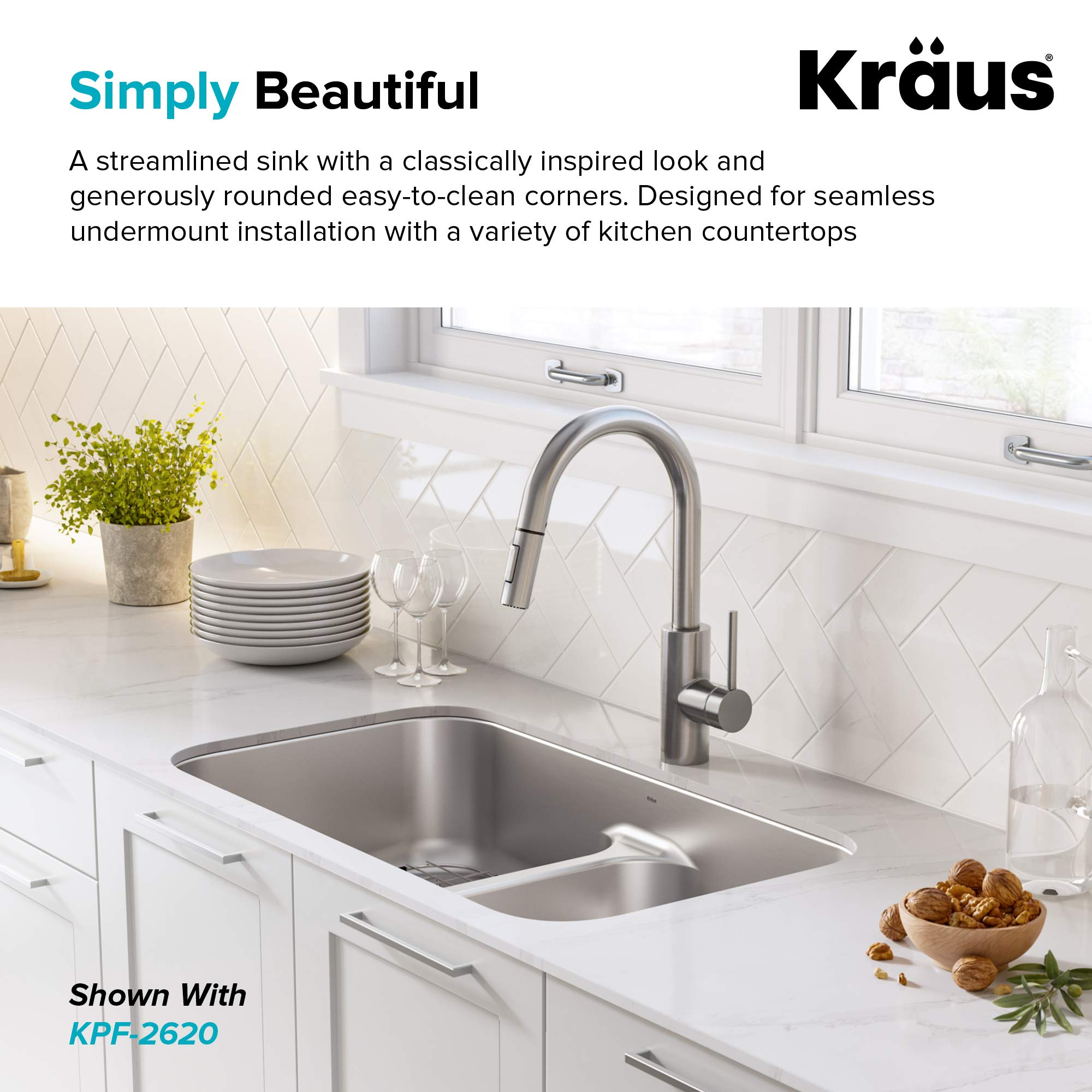 KRAUS KBU32 Premier 32-inch 16 Gauge Undermount 50/50 Double Bowl Kitchen Sink with Smart Low Divider by Kraus (Image #6)