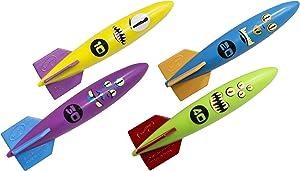 SwimWays Toypedo Bandits Pool Diving Toys - Sinking Torpedo Swim Toys - Pack of 4, Colors Vary, (12298)