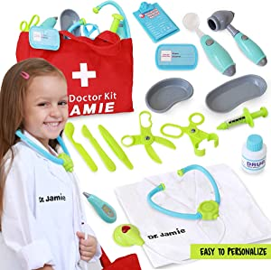Pretend Play Toy Doctors Kit for Kids w/ Customizable Doctor Costume - Playset Includes Light Up Stethoscope, Bandaids, Thermometer & More - Toddler Toys for Learning & Educational Fun
