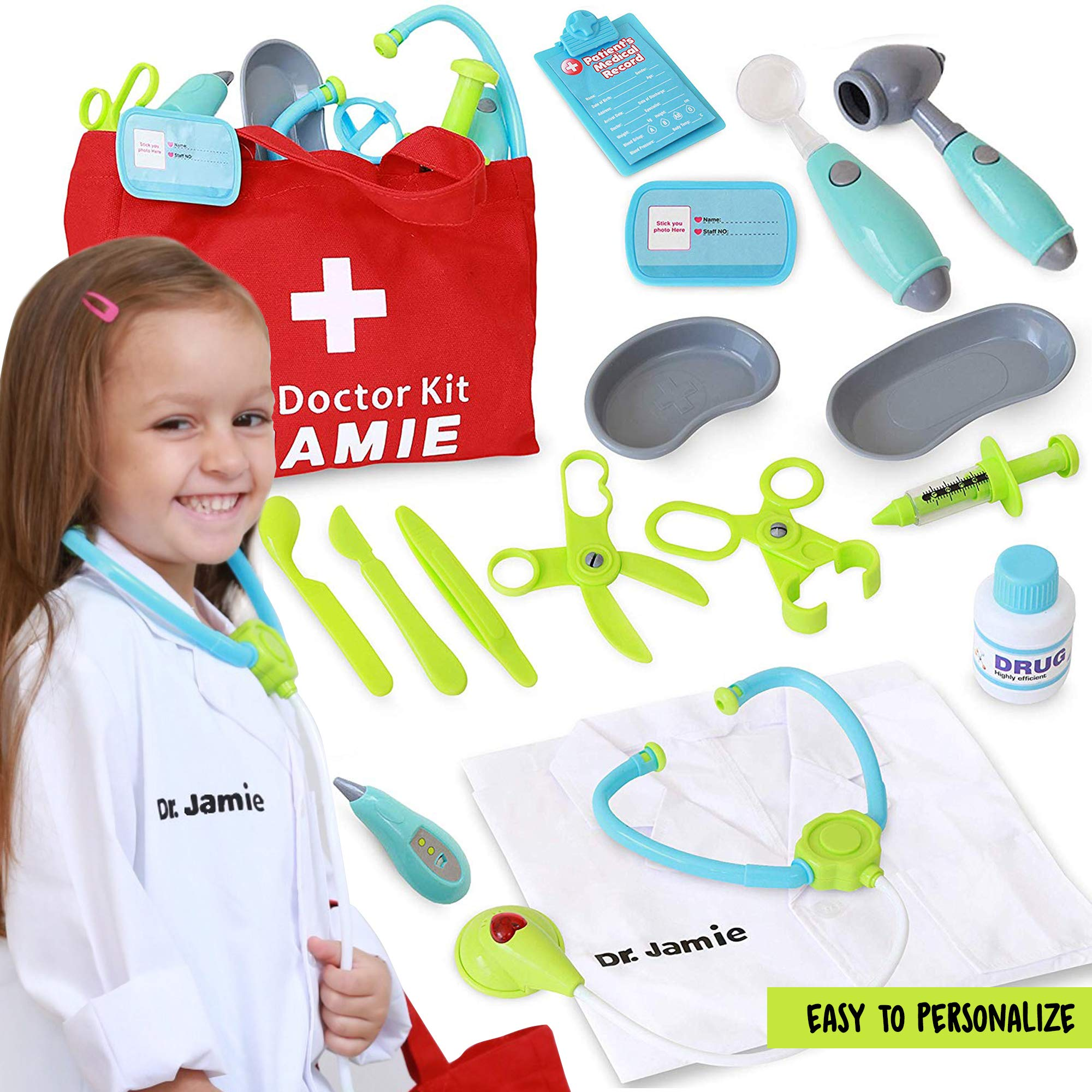 Customizable Pretend Play Doctor Set with Custom Doctor Coat and Bag - Light Up Stethoscope, Needle, Thermometer, etc. Educational Toy by Dreamy Accessories