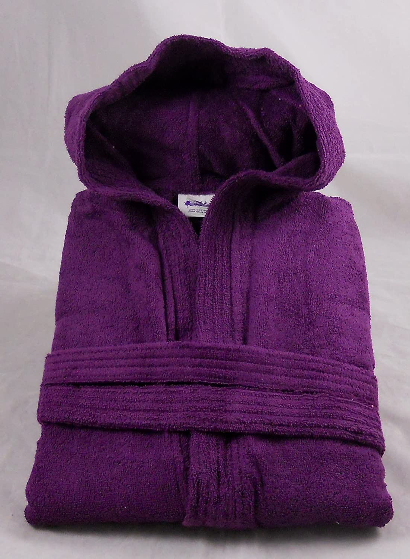 89f74e4f16 Aubergine   Purple 100% Cotton Terry Towelling Hooded Bathrobe + Matching  Belt - Medium  Amazon.co.uk  Kitchen   Home