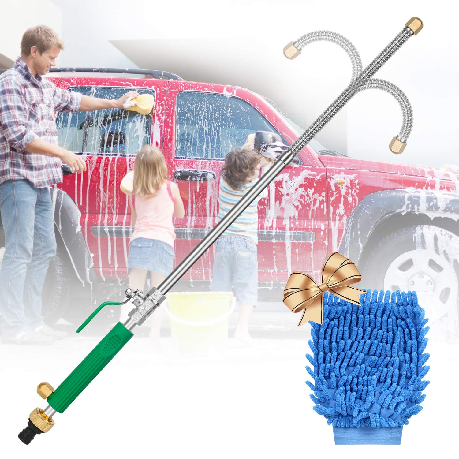 Hydro Jet High Pressure Power Washer, Extension Power Water Hose Nozzle Wand, Flexible Hose Attachment Sprayer Gun for Car Washing Gutter & Window Cleaning with Free Scrubbing Mitt by Niteblue
