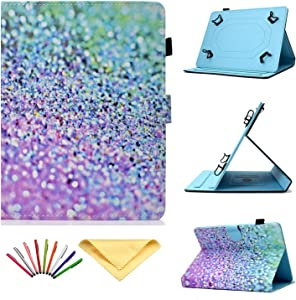 """7 inch Tablet Case Universal, Uliking PU Leather Stand Cover for Samsung Galaxy Tab A/2/3/4/E 7.0, Tab 3/Tab E Lite 7.0 for Lenovo/HP/ASUS Zenpad/LG G/Xiaomi/Mediapad 7""""-7.5"""" Tablet, Rainbow Sand"""
