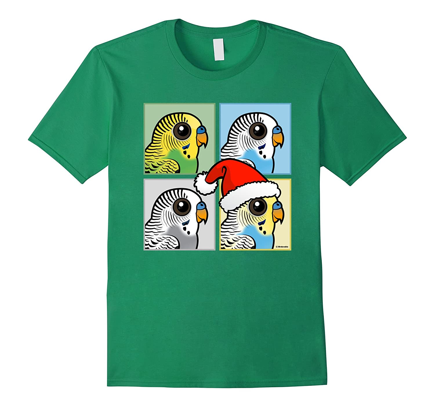 Cute Cartoon Christmas Budgies Pop Art Style T-Shirt-FL