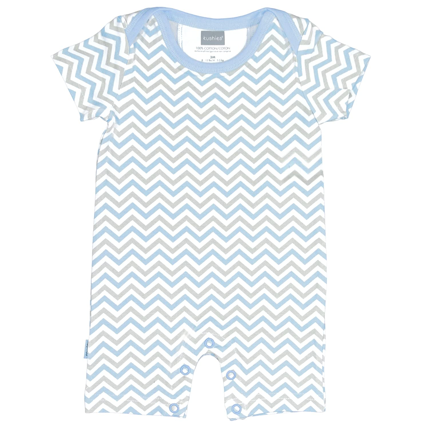 Kushies Baby Boys Striped One-Piece Short Sleeve Romper